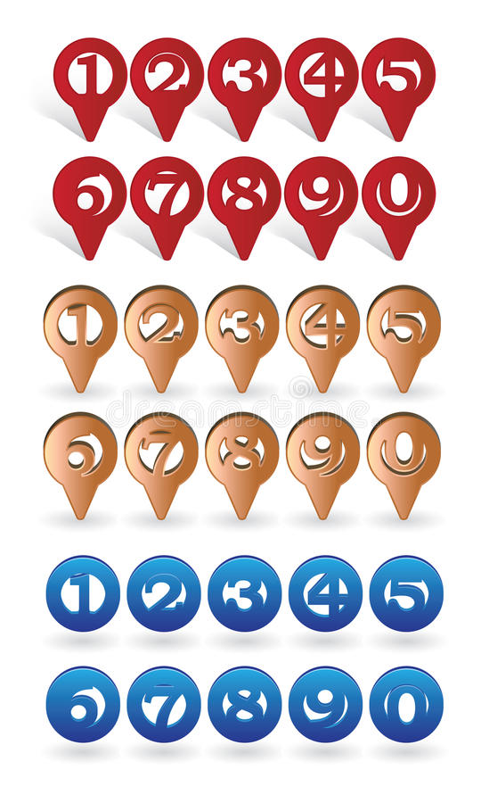 Location icons set. Set of icons with digits suitable for GPS or Navigation marking vector illustration stock illustration