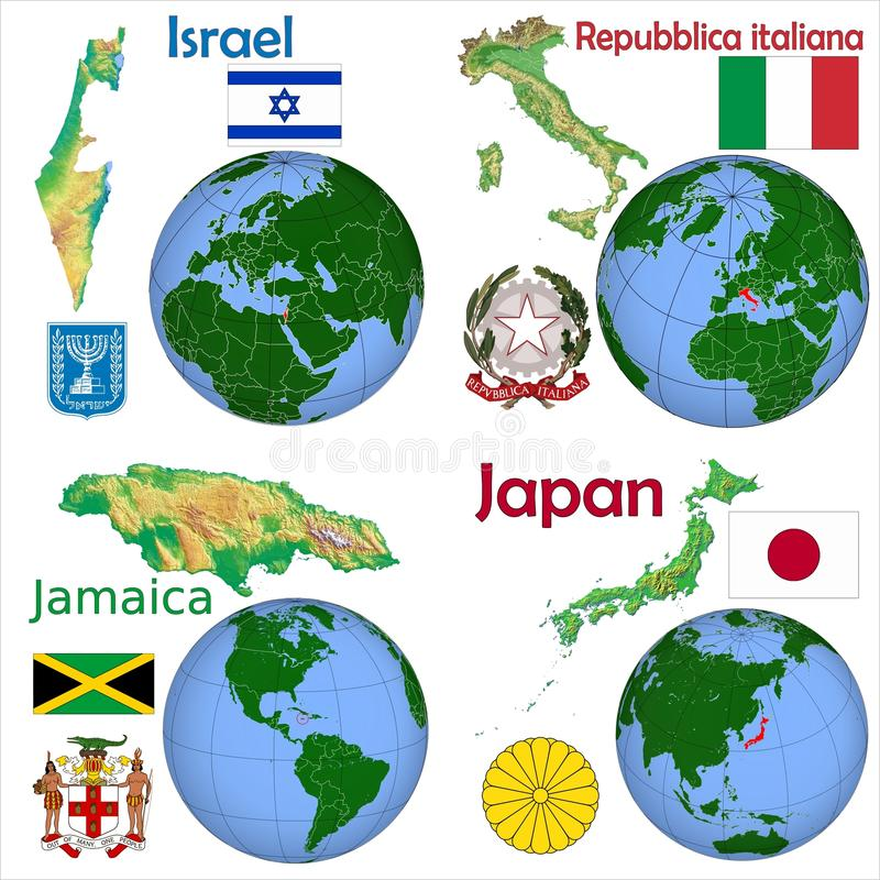 Location Israel,Italy,Jamaica,Japan royalty free illustration