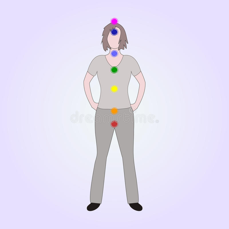 Location of the main seven yoga chakras on the human body.Female silhouette. With all the basic energy centers.Color vector illustration.Alternative medicine vector illustration