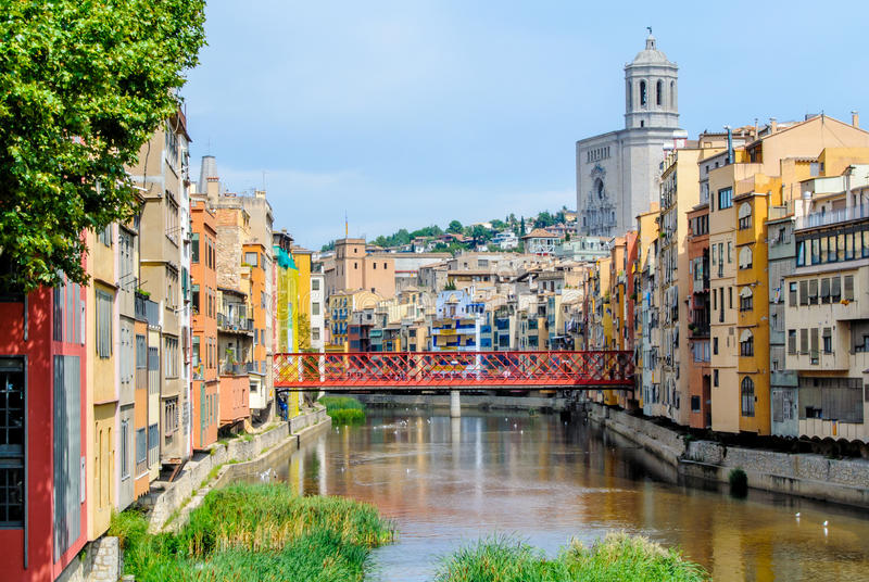 Location of making game of thrones, historical jewish quarter in Girona stock images