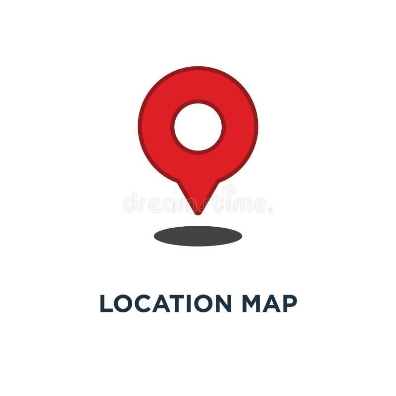 Location map icon. red gps pointer mark concept symbol design, v. Ector illustration stock illustration