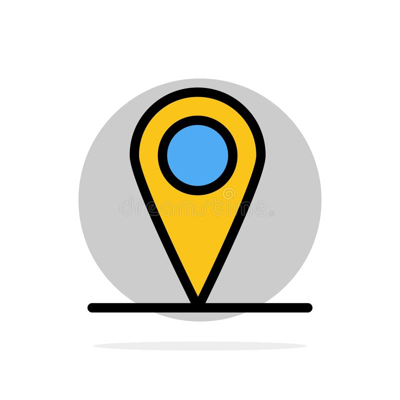 Location, Map, Interface Abstract Circle Background Flat color Icon vector illustration
