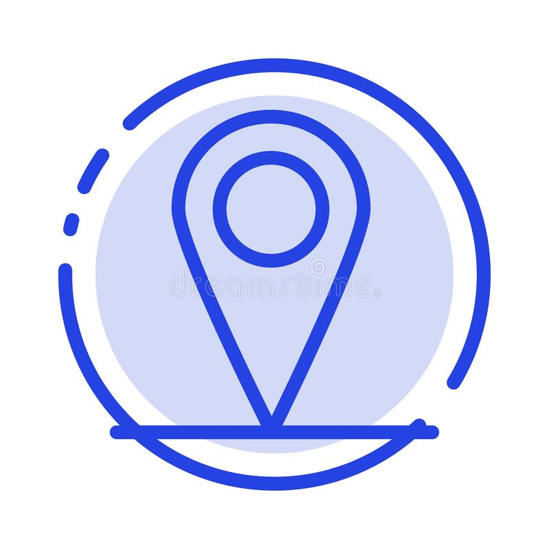 Location, Map, Interface Blue Dotted Line Line Icon royalty free illustration