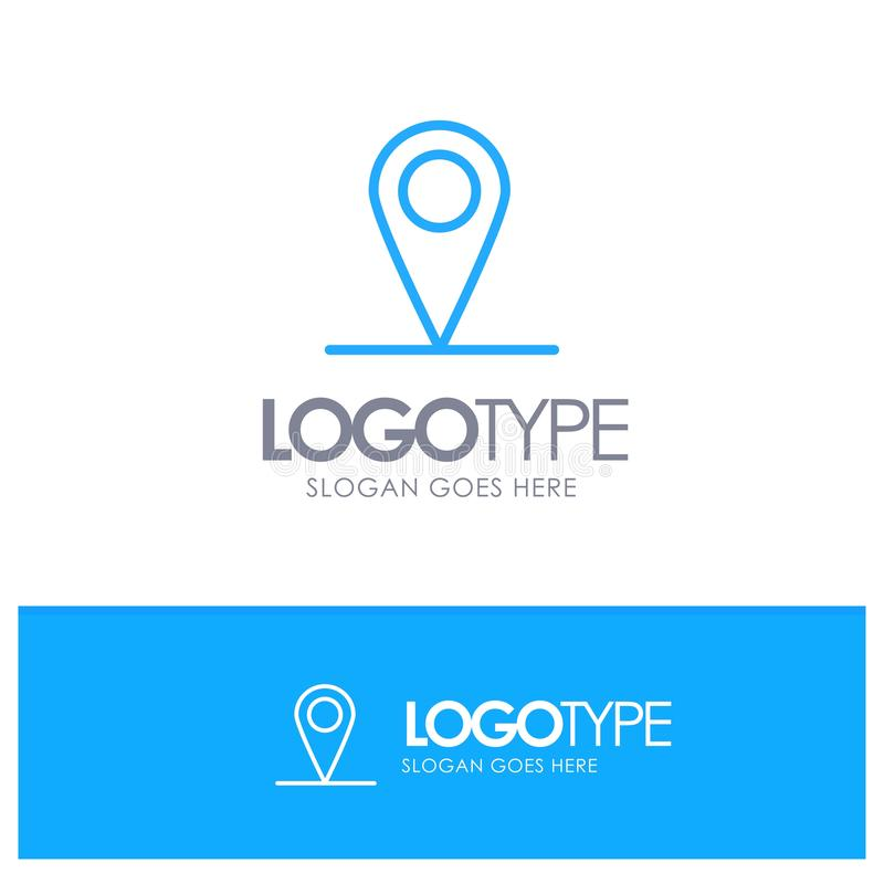 Location, Map, Interface Blue Outline Logo Place for Tagline stock illustration
