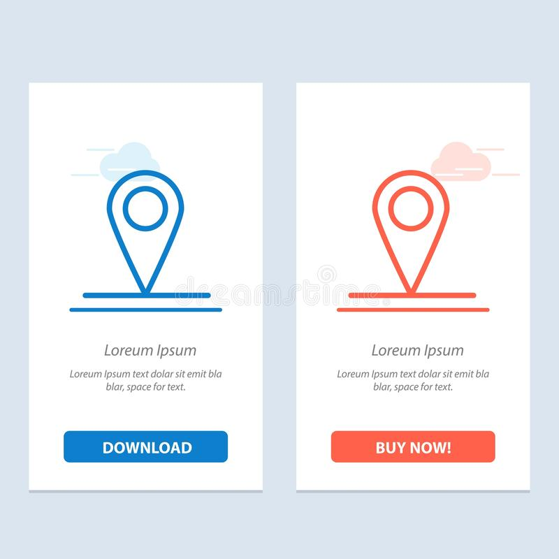 Location, Map, Interface  Blue and Red Download and Buy Now web Widget Card Template royalty free illustration
