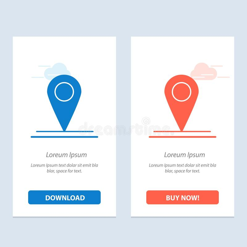 Location, Map, Interface  Blue and Red Download and Buy Now web Widget Card Template vector illustration