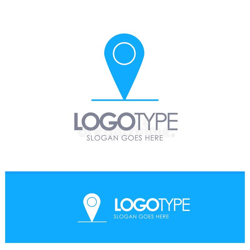 Location, Map, Interface Blue Solid Logo with place for tagline royalty free illustration