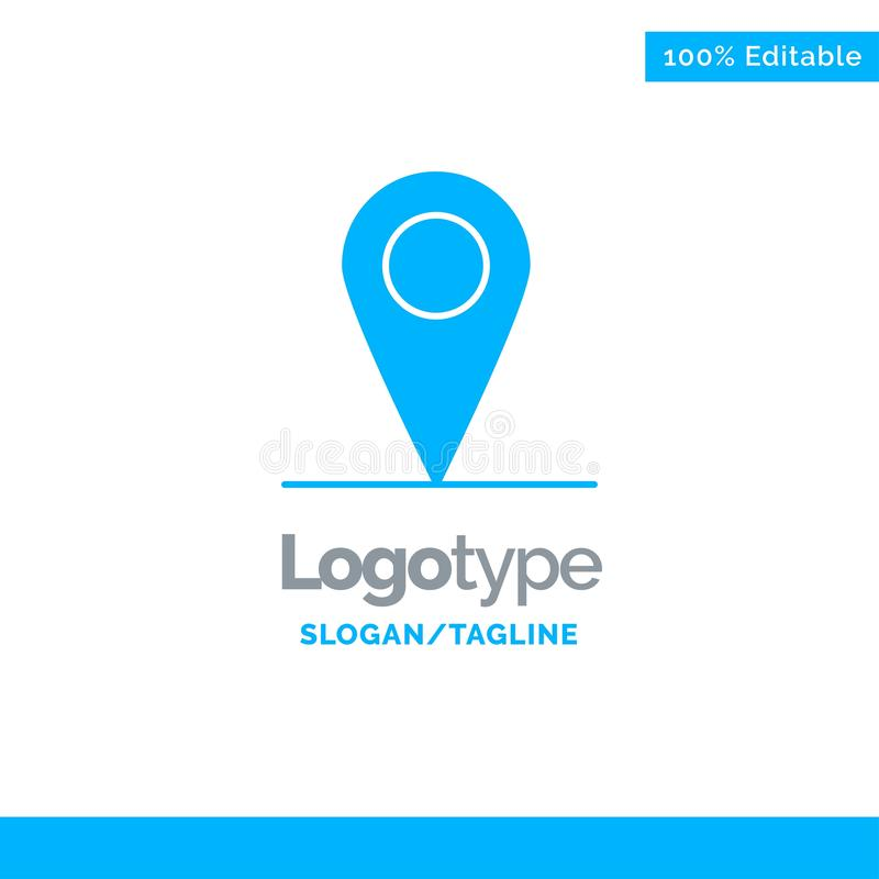 Location, Map, Interface Blue Solid Logo Template. Place for Tagline royalty free illustration