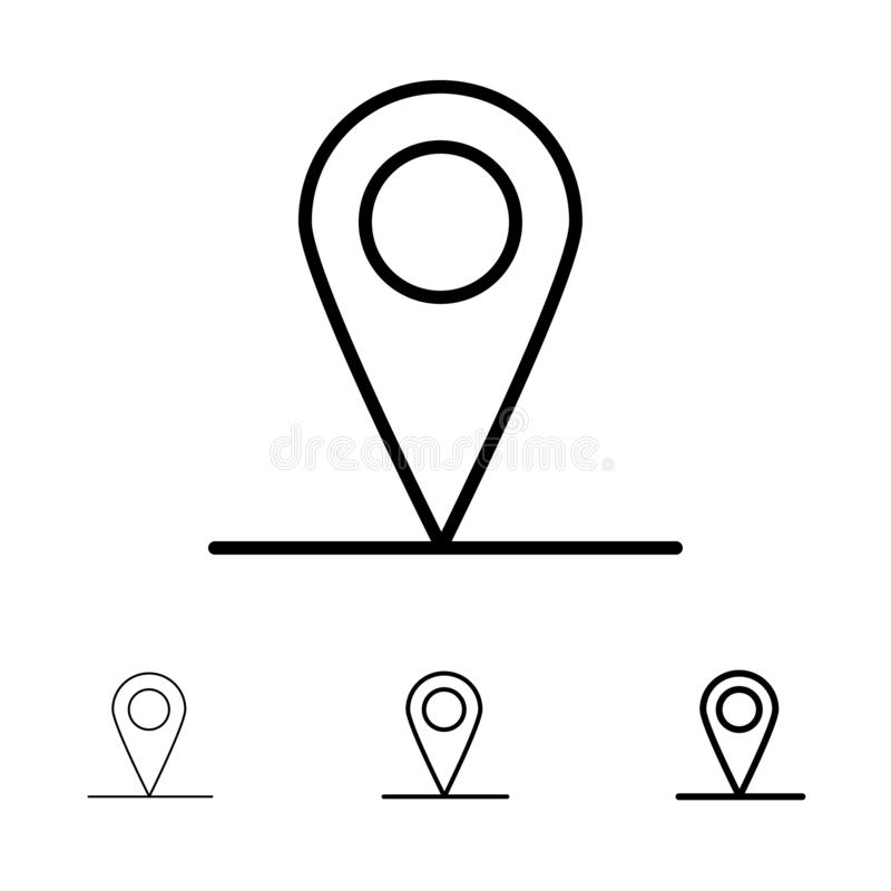 Location, Map, Interface Bold and thin black line icon set vector illustration