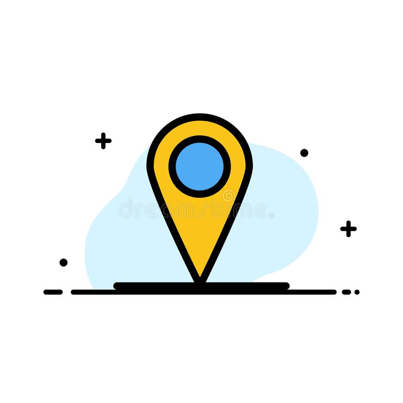 Location, Map, Interface  Business Flat Line Filled Icon Vector Banner Template royalty free illustration