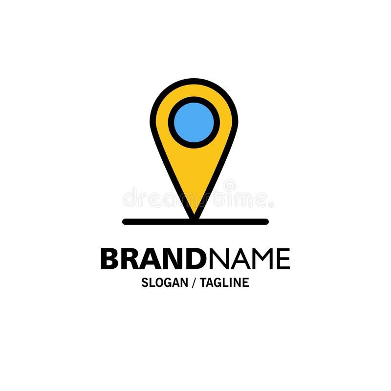 Location, Map, Interface Business Logo Template. Flat Color stock illustration