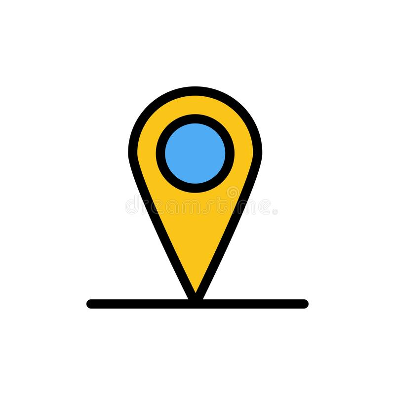 Location, Map, Interface  Flat Color Icon. Vector icon banner Template stock illustration