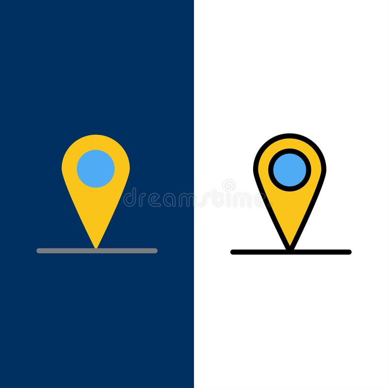 Location, Map, Interface  Icons. Flat and Line Filled Icon Set Vector Blue Background royalty free illustration