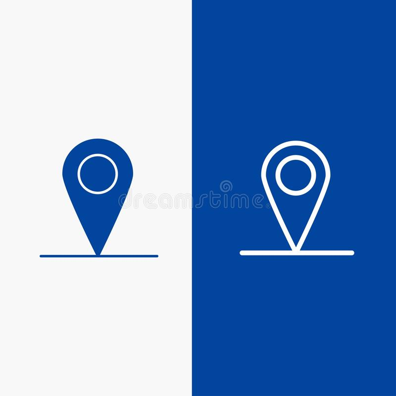 Location, Map, Interface Line and Glyph Solid icon Blue banner Line and Glyph Solid icon Blue banner vector illustration