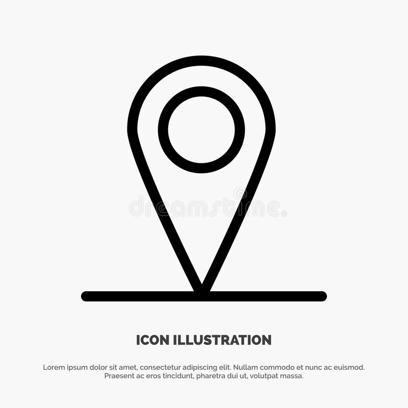 Location, Map, Interface Line Icon Vector stock illustration