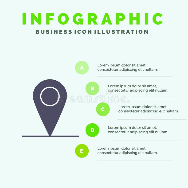 Location, Map, Interface Solid Icon Infographics 5 Steps Presentation Background royalty free illustration