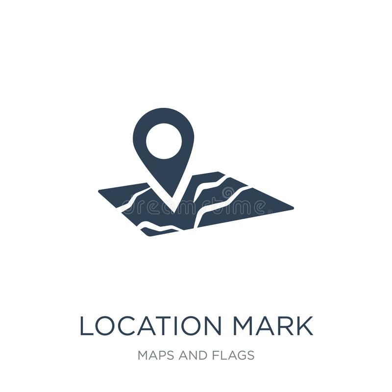 Location mark on printed map icon in trendy design style. location mark on printed map icon isolated on white background. location. Mark on printed map vector royalty free illustration