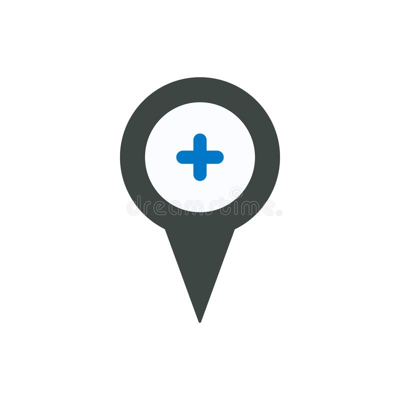 Location marker pin place plus pointer position icon. Navigation travel direction pointer royalty free illustration