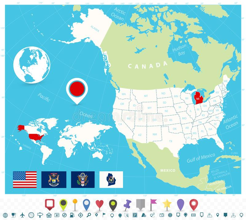 Location Of Michigan On USA Map With Flags And Map Icons ...
