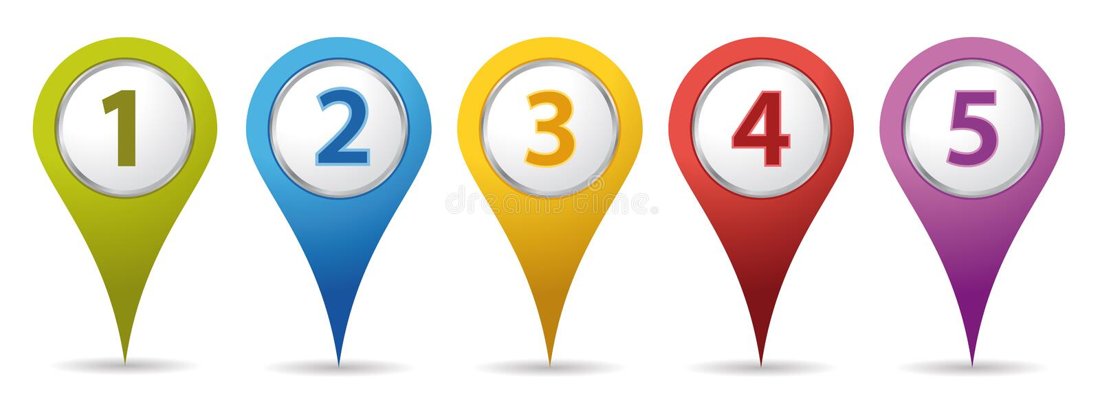 Location number pins royalty free illustration