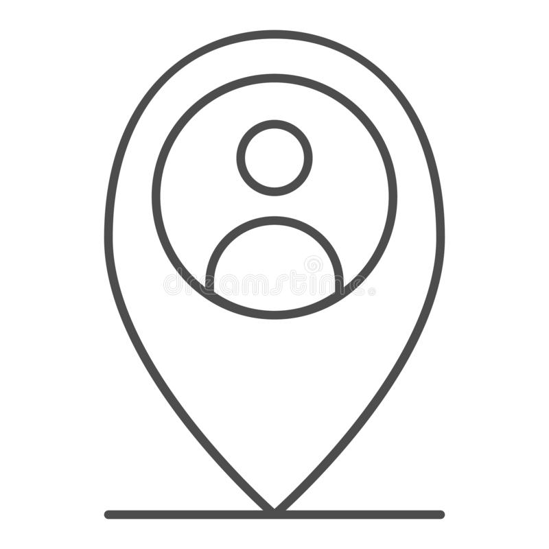 Location person thin line icon. Map pin with man vector illustration isolated on white. Map marker and human outline vector illustration