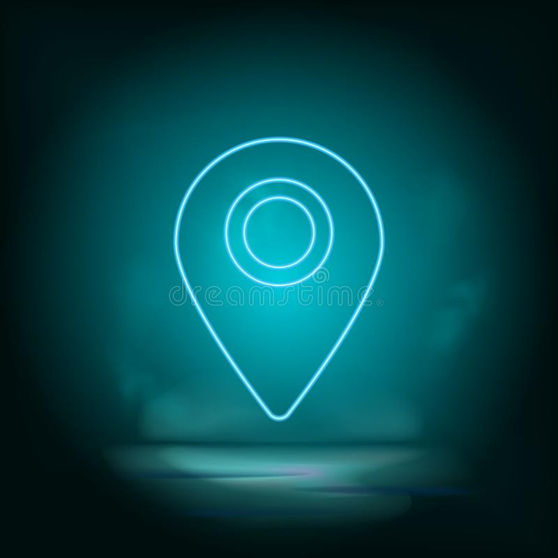 Location, pin blue neon vector icon. Simple element illustration from map and navigation concept. Location, pin blue neon vector. Icon. Real estate concept vector illustration