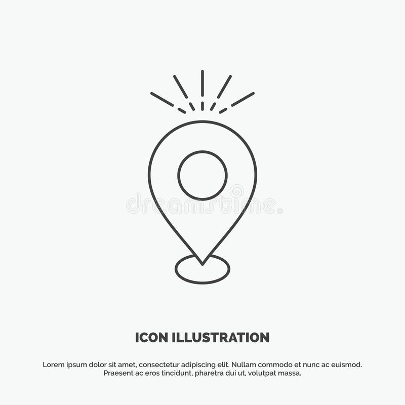 Location, Pin, Camping, holiday, map Icon. Line vector gray symbol for UI and UX, website or mobile application stock illustration