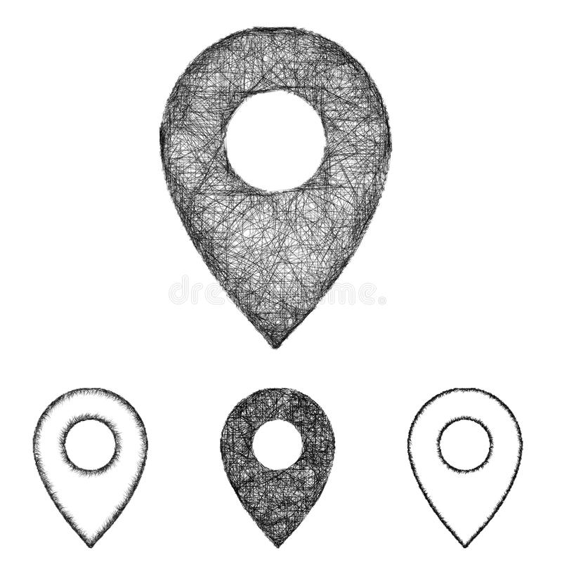 Location, pin icon set - sketch line art royalty free illustration