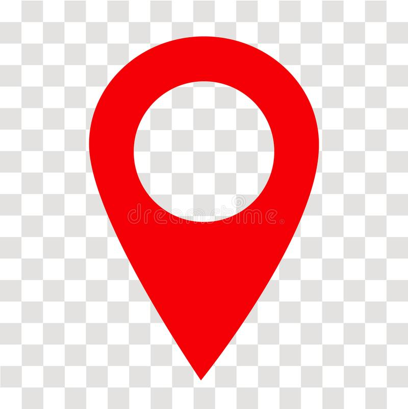 Location pin icon on transparent. location pin sign. flat style. royalty free stock photography