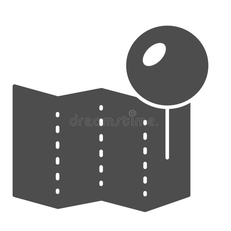 Location pin on map solid icon. Paper pin vector illustration isolated on white. Push pin glyph style design, designed. For web and app. Eps 10 stock illustration