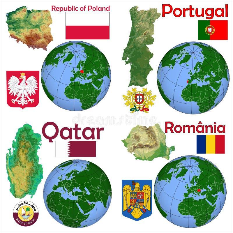 Location Poland,Portugal,Qatar,Romania stock illustration