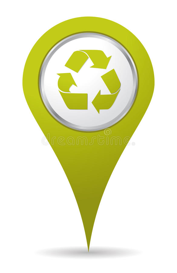Location recycling icon. Green location recycling icon pin stock illustration