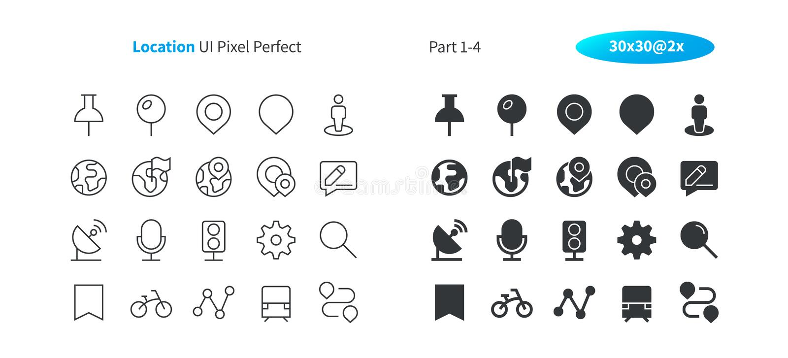 Location UI Pixel Perfect Well-crafted Vector Thin Line And Solid Icons 30 2x Grid for Web Graphics and Apps. stock illustration
