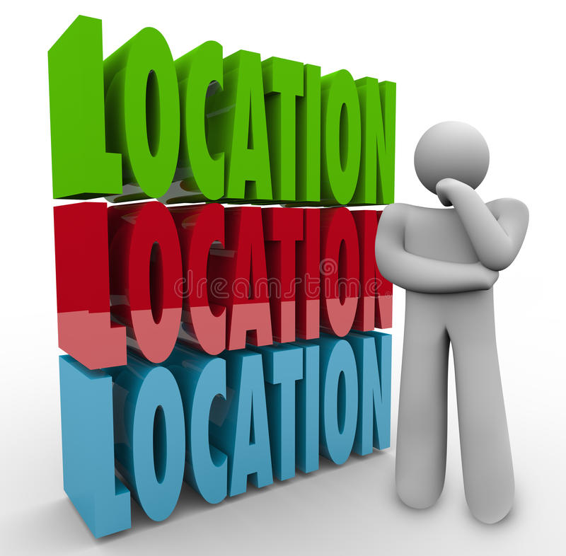 Location Words Thinking Person Where Live Work. Location words stacked beside a person thinking or wondering about the best place to live or work, a desirable stock illustration