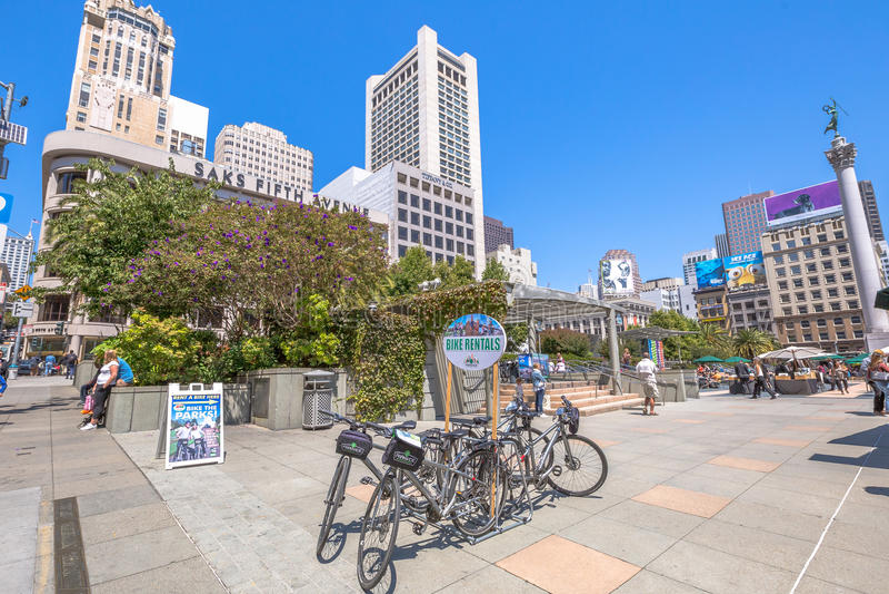 Locations de vélo d'Union Square images libres de droits