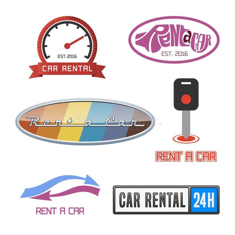 Locations de voiture label de vecteur et ensemble d'icône illustration libre de droits