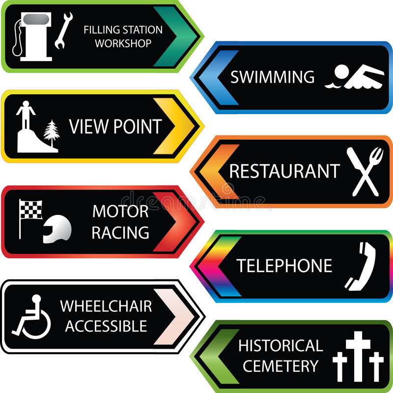 Locations Icon Set Stock Images