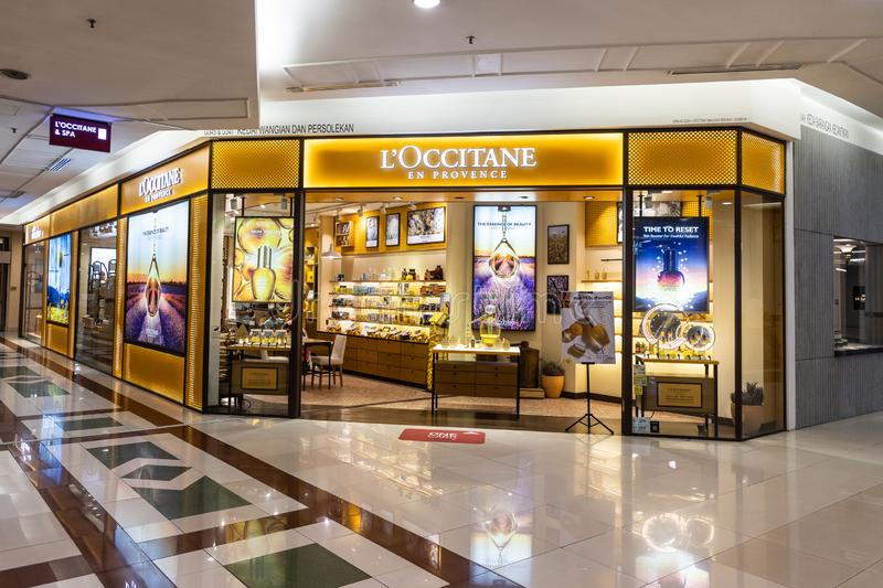LOccitane, is an international retailer of body, face, fragrances and home products based in Manosque, France. KUALA LUMPUR, MALAYSIA, JUNE 1, 2019: LOccitane stock image