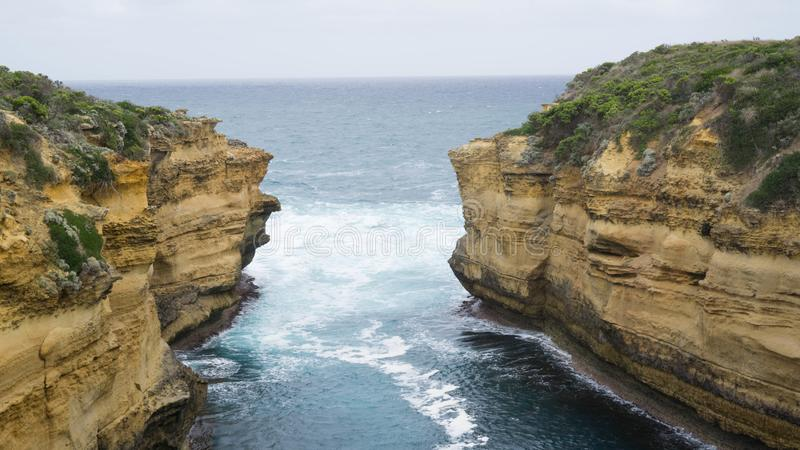 Loch Ard Gorge -  one of many rock formations along The Great Ocean Road caused by water erosion, Australia. Loch Ard Gorge -  one of many rock formations along royalty free stock image