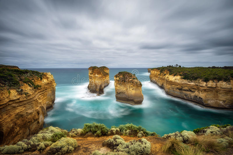 Loch Ard Gorge in Victoria, Australia, near Port Campbell. Loch Ard Gorge along the famous Great Ocean Road in Victoria, Australia, near Port Campbell and The stock photos