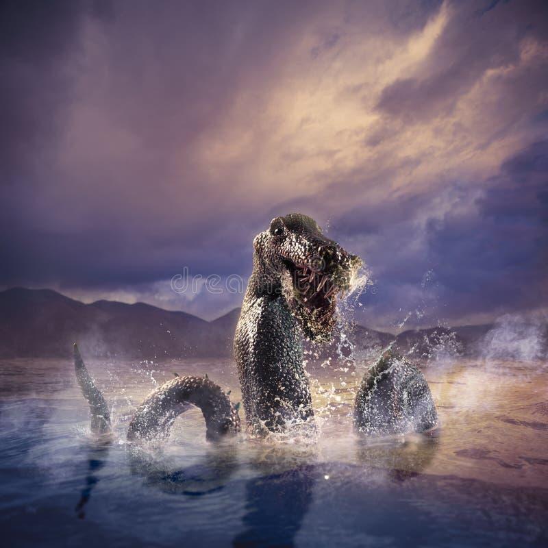Loch assustador Ness Monster que emerge da água fotografia de stock