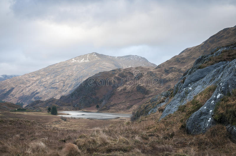 Loch Coire Shubh and the Kinloch Hourn mountains royalty free stock photography