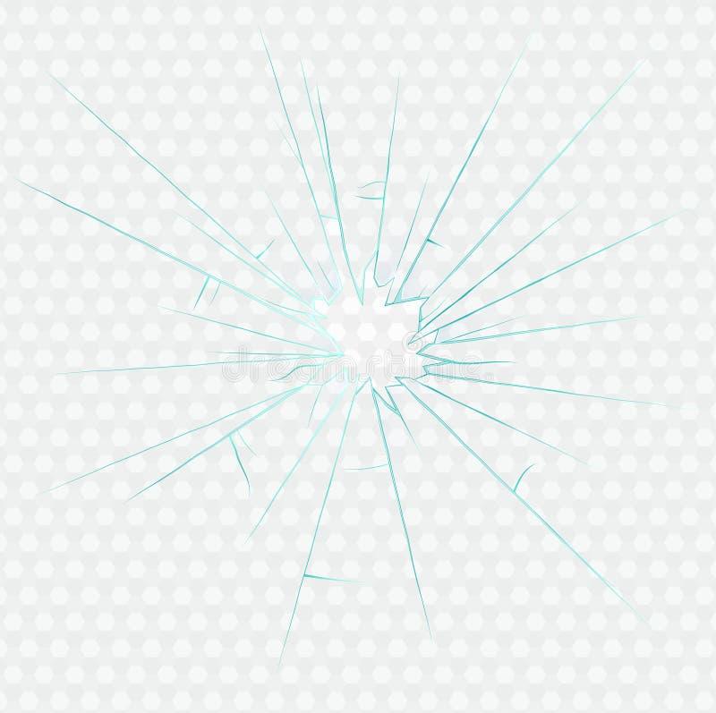 Loch im defekten Glas mit Sprüngen und Splittern vektor abbildung