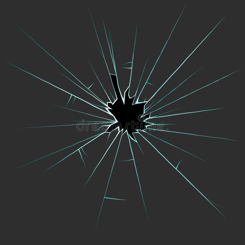 Loch im defekten Glas mit Sprüngen und Splittern stock abbildung
