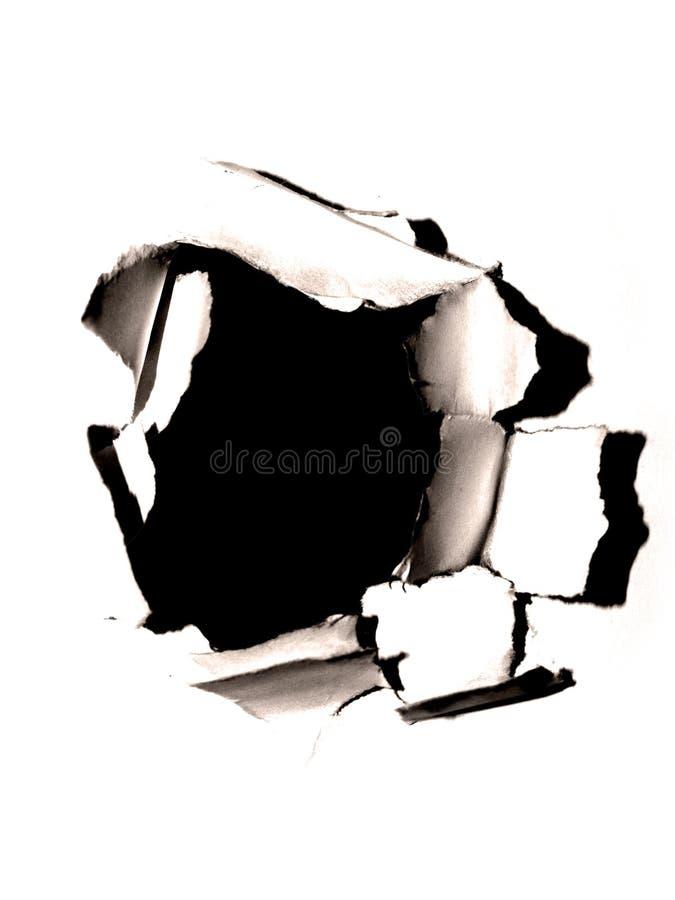 Loch im Papier lizenzfreies stockbild