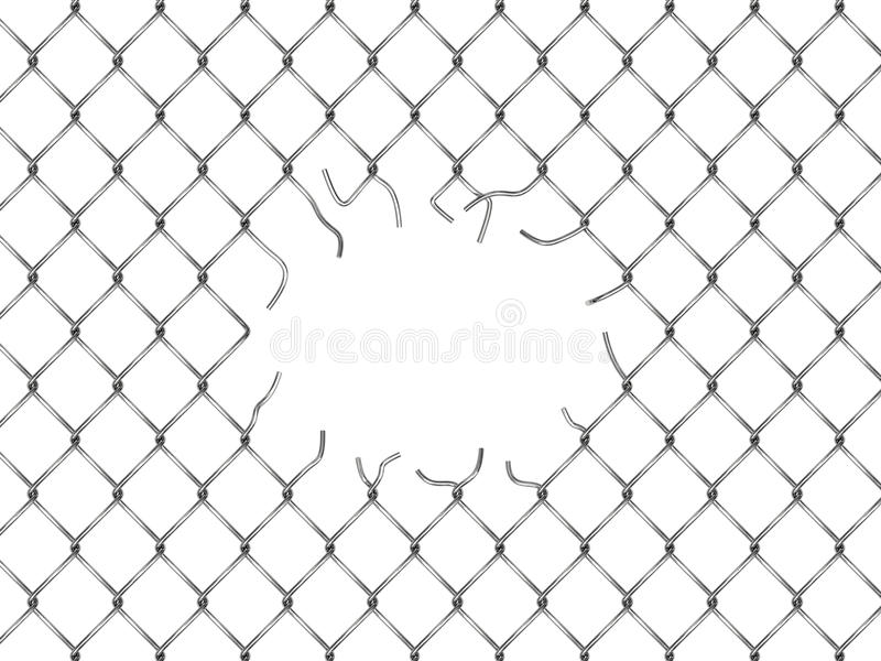 Loch im Zaun von der silbernen Masche lizenzfreie abbildung
