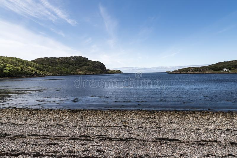 Loch Kirkaig. A calm summers day at Loch Kirkaig near Lochinver in the Scottish Highlands stock photography