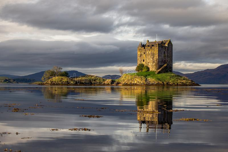 Loch Linnhe in the Scottish Highlands is home to Castle Stalker. Beautiful Royalty free stock photo. Loch Linnhe in the Scottish Highlands is home to Castle royalty free stock photo