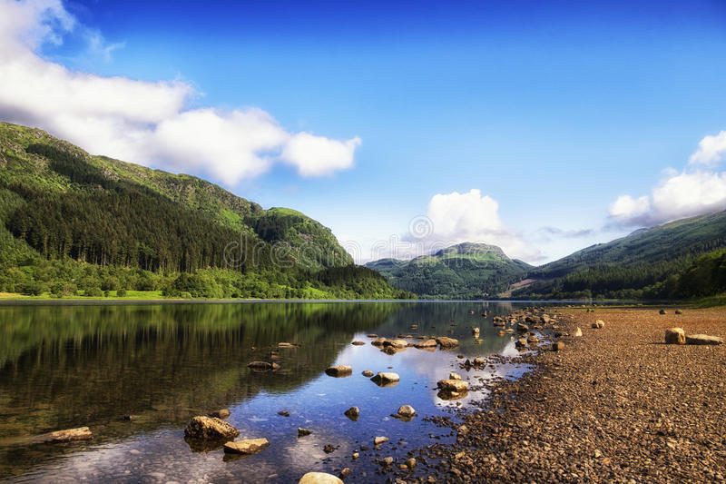 Loch Lubnaig, Loch Lomond & Trossachs National Park. Mountain reflections on Loch Lubnaig, Scotland royalty free stock image
