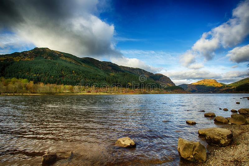 Loch Lubnaig. View of Loch Lubnaig in Perthshire, Scotland under a dramatic sky stock photo